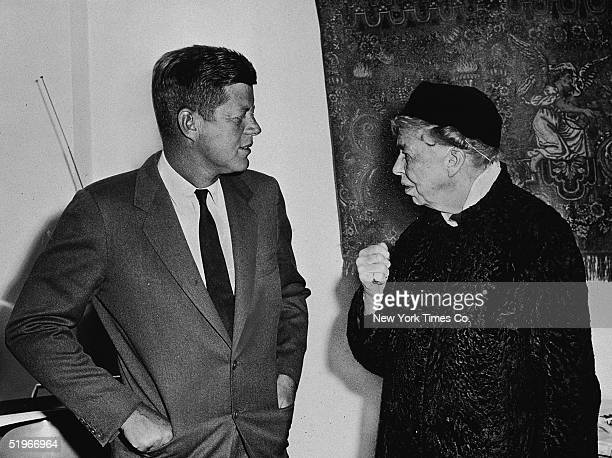 American politician Presidentelect John F Kennedy talks with American humanitarian and former First Lady Eleanor Roosevelt at the Hotel Carlyle New...
