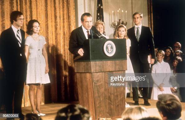 American politician Richard Nixon at the White House with his family after his resignation as President 9th August 1974 From left soninlaw David...