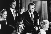 American politician Richard Nixon with his family after his resignation as President 9th August 1974 From left Tricia Nixon her husband Edward Cox...