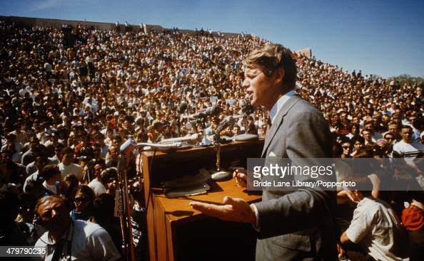 American politician Robert F Kennedy delivers a speech USA circa 1968