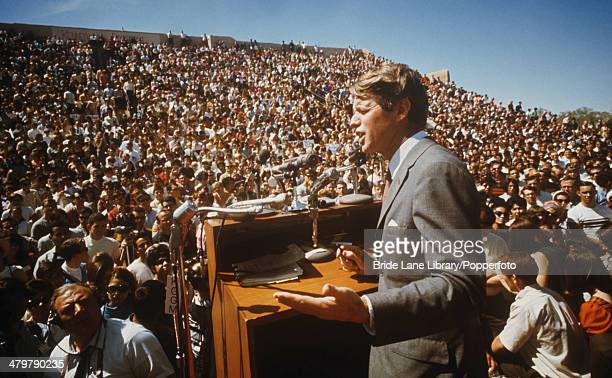 American politician Robert F Kennedy delivers a speech USA circa 1968