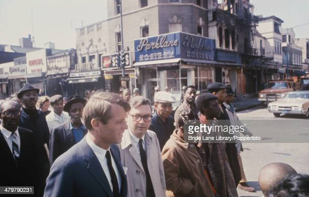 American politician Robert F Kennedy visits a US city after a period of rioting 1968