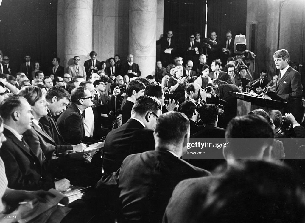 American politician Robert Kennedy announces his decision to challenge Lyndon Baines Johnson for the presidential nomination of the Democratic Party...
