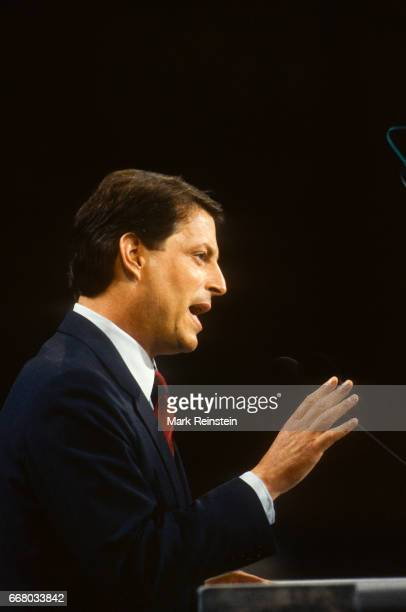 American politician Senator Al Gore speaks at a lectern as he accepts the vicepresidential nomination during the Democratic National Convention at...