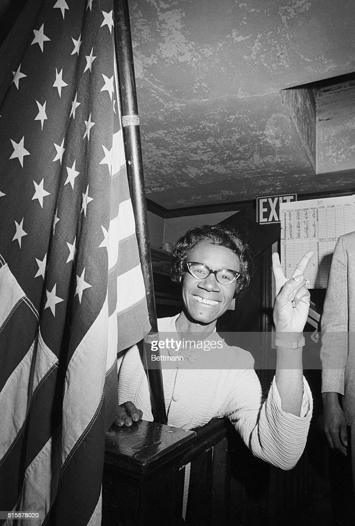 Shirley Chisholm gives the victory sign after winning the Congressional election in Brooklyn's 12th District. She defeated civil rights leader James Farmer to become the first African American woman elected to Congress.