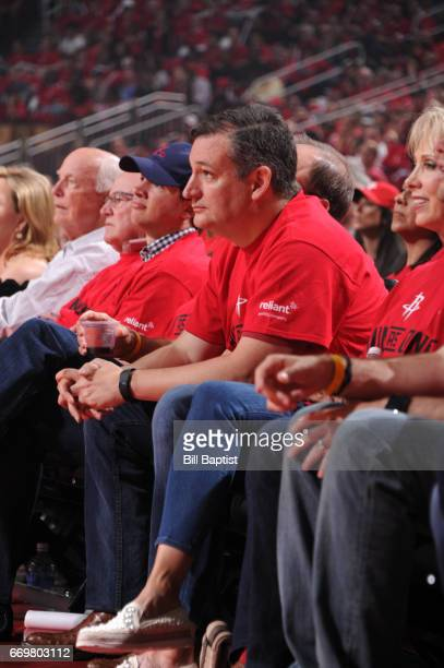 American politician Ted Cruz attends the Western Conference Quarterfinals game between the Oklahoma City Thunder and Houston Rockets during the 2017...