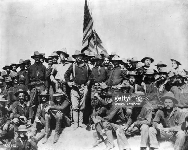 American politician Theodore Roosevelt later the 26th President of the United States of America with his men of the 1st Cavalry Volunteers known as...
