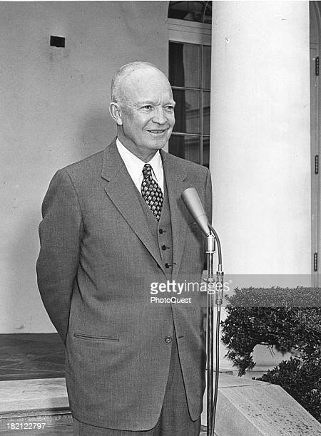 American politician US President Dwight Eisenhower makes a statement to the press outside the White House Washington DC April 5 1955 He spoke about...