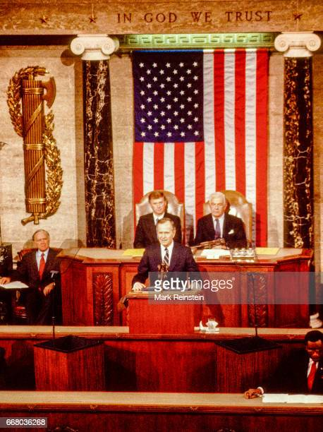 American politician US President George HW Bush delivers his first State of the Union address before a joint session of Congress Washington DC...