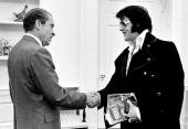 President Richard Nixon shakes hands with Elvis Presley December 21 1970 at the White House
