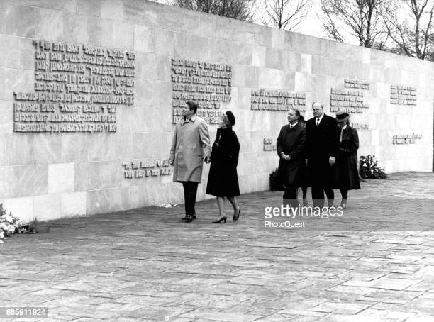 American politician US President Ronald Reagan and US First Lady Nancy Reagan visit a memorial at the site of the BergenBelsen concentration camp...