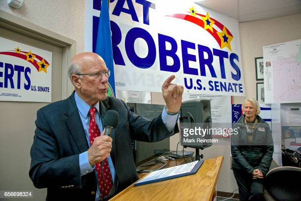 American politician US Senator Pat Roberts addresses supporters at his campaign headquarters Overland Park Kansas October 12 2014 Seated behind him...