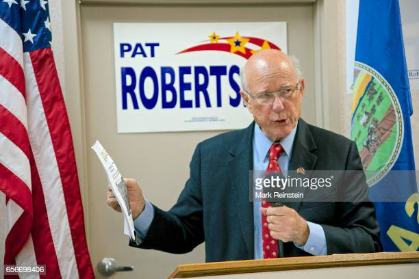 American politician US Senator Pat Roberts addresses supporters at his campaign headquarters Overland Park Kansas October 12 2014 He was campaigning...