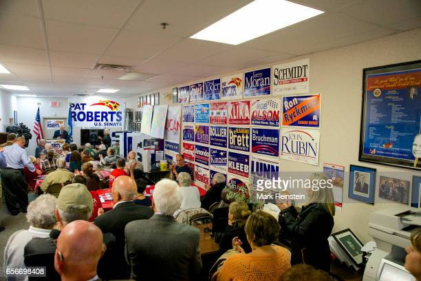 American politician US Senator Pat Roberts addresses supporters at his campaign headquarters Overland Park Kansas October 12 2014 Among those visible...