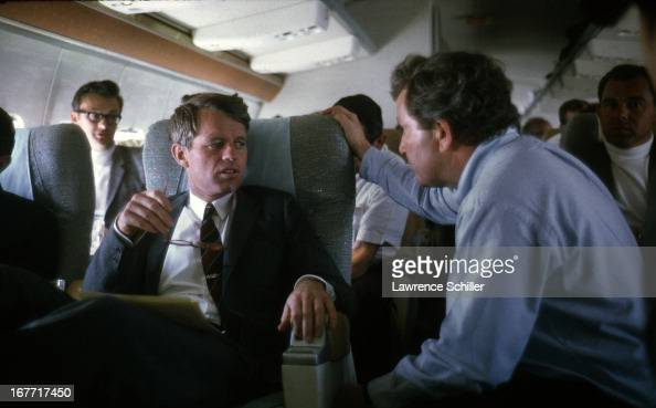 American politician US Senator Robert F Kennedy flies by plane during his campaign for the Presidency 1968