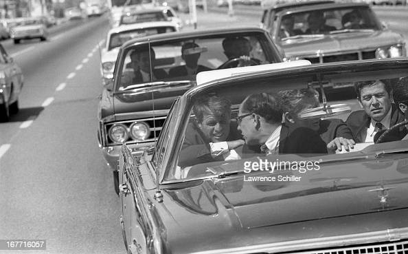 American politician US Senator Robert F Kennedy in his motorcade as he campaigns for the Presidency Los Angeles California 1968