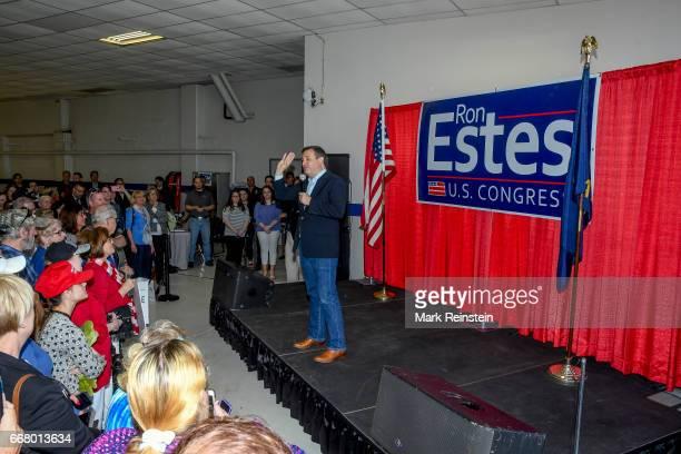American politician US Senator Ted Cruz speaks in support of fellow Republican Ron Estes' Congressional campaign Wichita Kansas April 10 2017