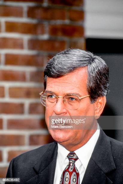 American politician US Senator Trent Lott speaks with the press outside CBS Studios Washington DC 1996 He was there for an appearance on 'Face the...