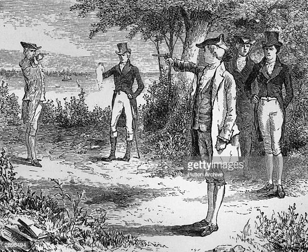American politicians Alexander Hamilton and Aaron Burr take aim in the duel that would end Hamilton's life Weehawken New Jersey