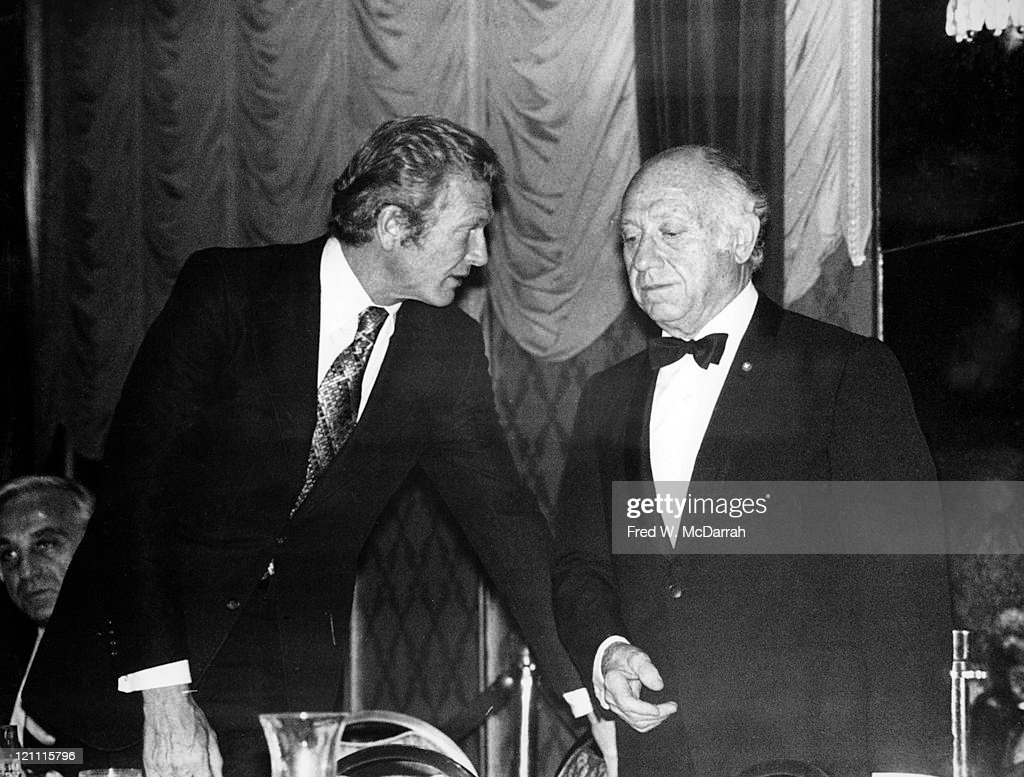 American politicians Mayor of New York John V. Lindsay (1921 - 2000) (left) and Senator <a gi-track='captionPersonalityLinkClicked' href=/galleries/search?phrase=Jacob+K.+Javits&family=editorial&specificpeople=209227 ng-click='$event.stopPropagation()'>Jacob K. Javits</a> (1904 - 1986) attend the Alfred E. Smith memorial dinner at the Waldorf, New York, New York, October 16, 1974.