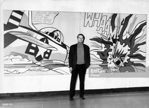 American pop artist Roy Lichtenstein in front his painting 'Whaam' at the Tate Gallery London