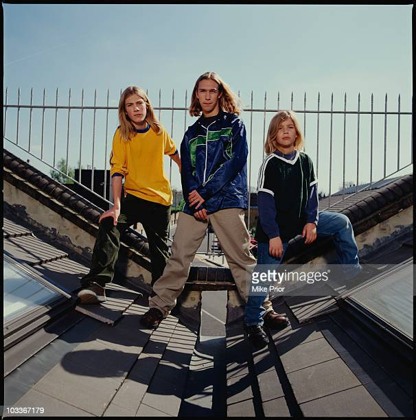 American pop band Hanson pose for a group portrait on a roof in London in 1997 LR Taylor Hanson Isaac Hanson and Zac Hanson