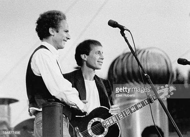 American pop duo Simon Garfunkel performing at their reunion concert in Central Park New York City 19th September1981 The concert is their first...