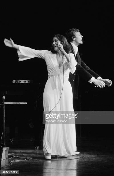 American pop duo The Carpenters Richard Carpenter and his sister Karen performing on stage 22nd February 1974