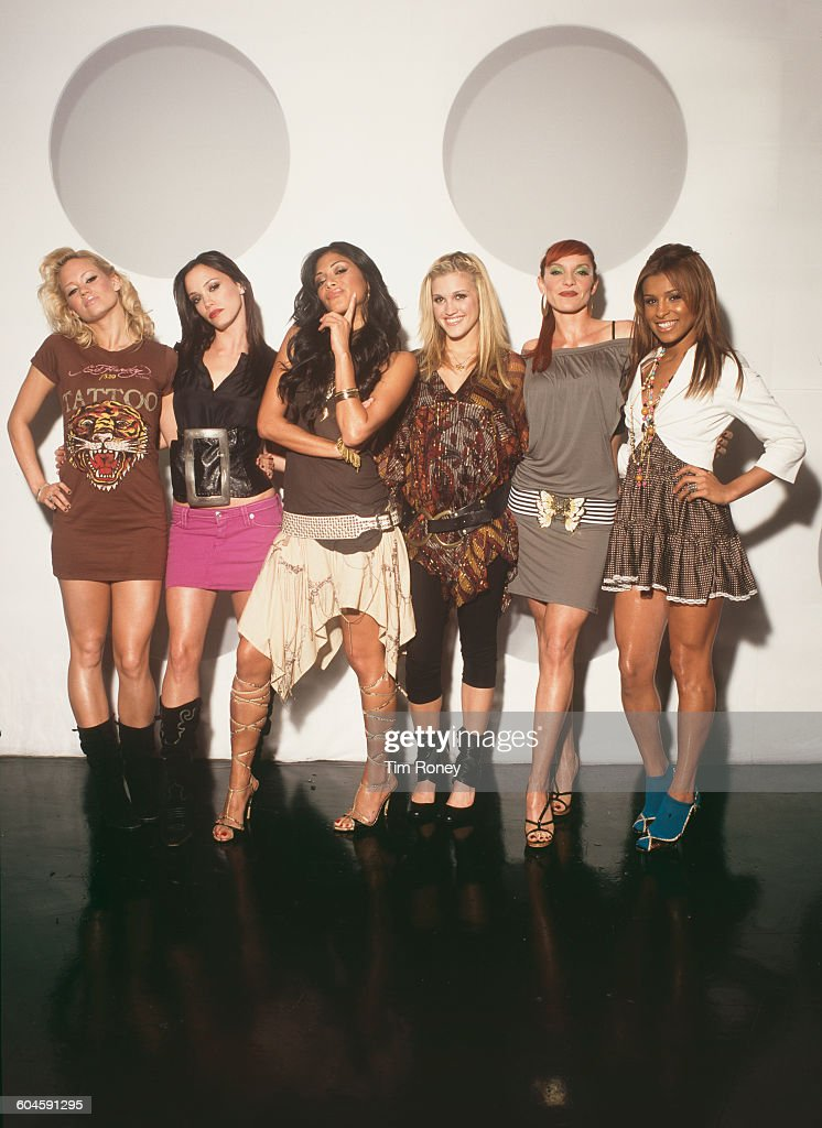 American pop girl group, The Pussycat Dolls, circa 2003. From left to right they are Kimberly Wyatt, J Sutta, Nicole Scherzinger, Ashley Roberts, Carmit Bachar and Melody Thornton.