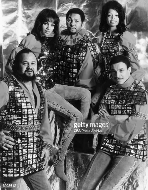 American pop group Fifth Dimension poses in matching costumes in a promotional portrait for the CBSTV special 'Opening Night USA' LR Lamonte McLemore...
