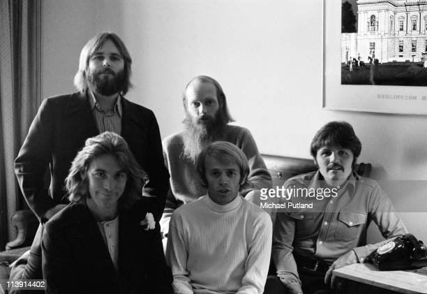 American pop group The Beach Boys backstage UKDecember 1970 Left to right Carl Wilson Dennis Wilson Mike Love Al Jardine and Bruce Johnston