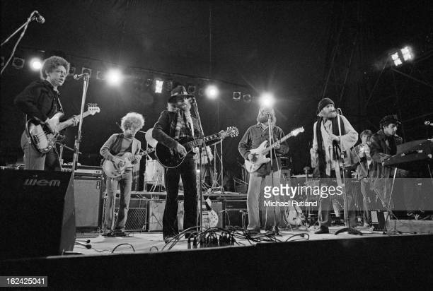 American pop group The Beach Boys performing at the Great Western Express Lincoln Festival Bardney Lincolnshire 28th May 1972 Far left to right...