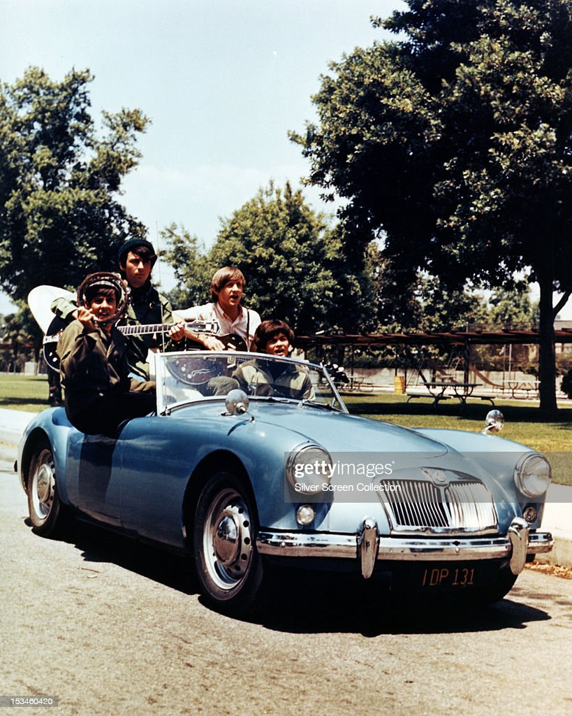 American pop group The Monkees performing in an MG sports car circa 1967 Left to right Davy Jones Michael Nesmith Peter Tork and Mickey Dolenz