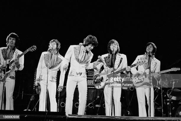 American pop group The Osmonds perform at the Rainbow Theatre London 4th November 1972 Left to Right Alan Osmond Jay Osmond Donny Osmond Merrill...