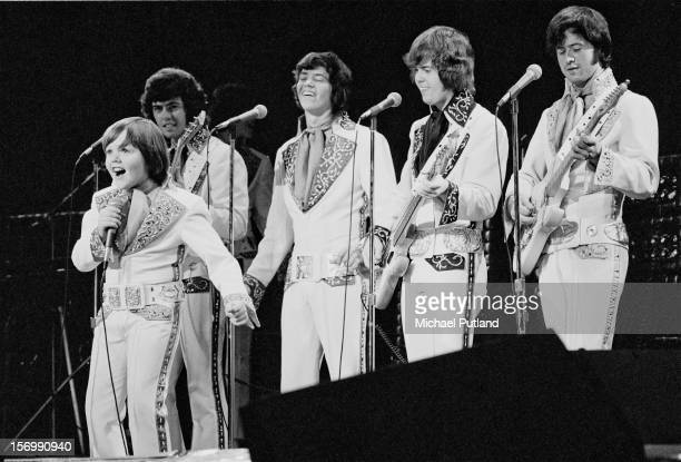 American pop group The Osmonds perform at the Rainbow Theatre London 4th November 1972 Left to right Jimmy Osmond Alan Osmond Donny Osmond Merrill...