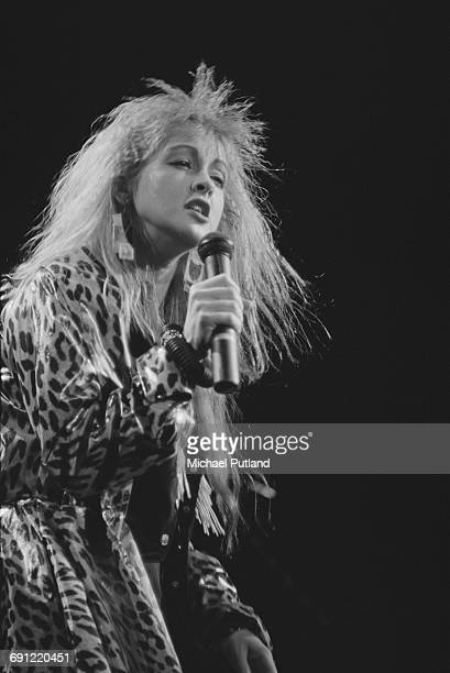 American pop singer Cyndi Lauper performing in Hawaii October 1986