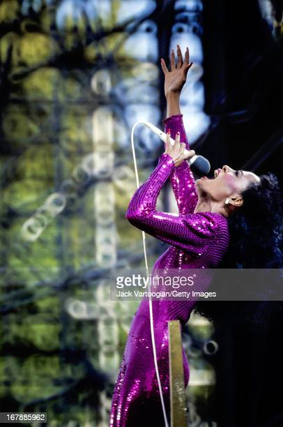 American pop singer Diana Ross performs on stage during the second of two nights of her 'For One and For All' concert on Central Park's Great Lawn...