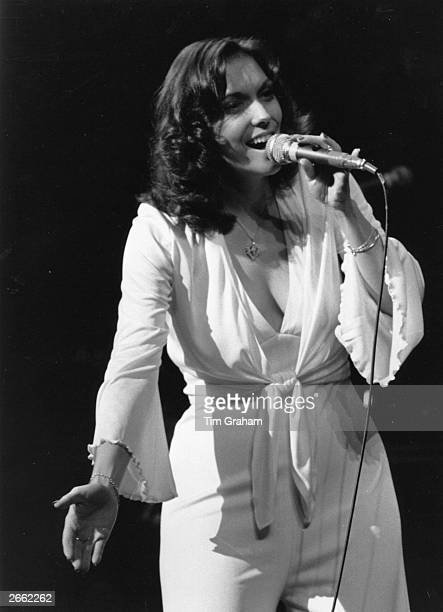 American pop singer Karen Carpenter of brother and sister duo The Carpenters in performance at the Royal Festival Hall London Original Publication...