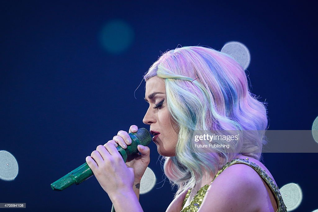 American pop singer Katy Perry performs in her concert on April 21, 2015 in Shanghai, China. Shanghai is the second stop in Perry's Prismatic global tournament. Feature China / Barcroft Media