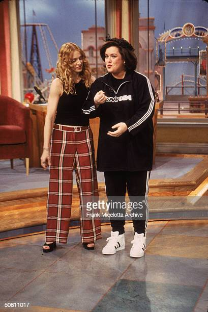 American pop singer Madonna and television show host and actress Rosie O'Donnell stand together on an epsiode of 'The Rosie O'Donnell Show' New York...