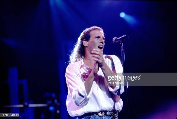 American pop singer Michael Bolton performs on stage during the recording of the television special 'This is Michael Bolton ' Chicago Illinois August...