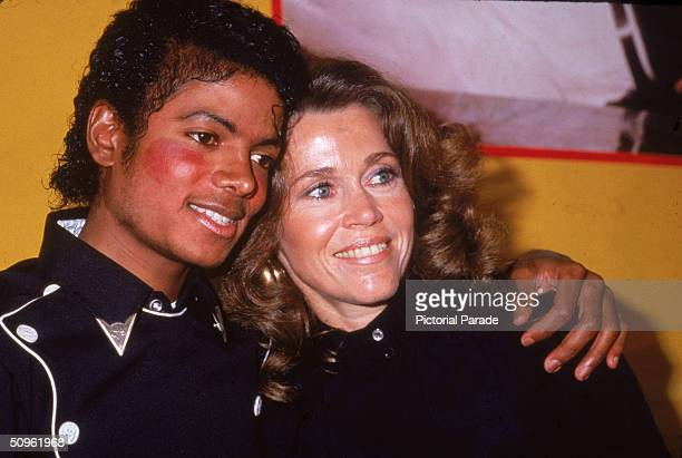 American pop singer Michael Jackson and American actress Jane Fonda celebrate his album 'Thriller' and her workout album going gold February 1983
