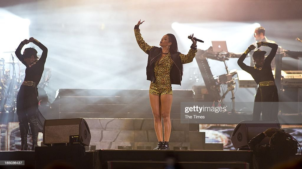 American pop singer <a gi-track='captionPersonalityLinkClicked' href=/galleries/search?phrase=Rihanna&family=editorial&specificpeople=453439 ng-click='$event.stopPropagation()'>Rihanna</a> performs at the Cape Town Stadium on October 17, 2013, in Cape Town, South Africa. <a gi-track='captionPersonalityLinkClicked' href=/galleries/search?phrase=Rihanna&family=editorial&specificpeople=453439 ng-click='$event.stopPropagation()'>Rihanna</a> is currently on her Diamonds World Tour.