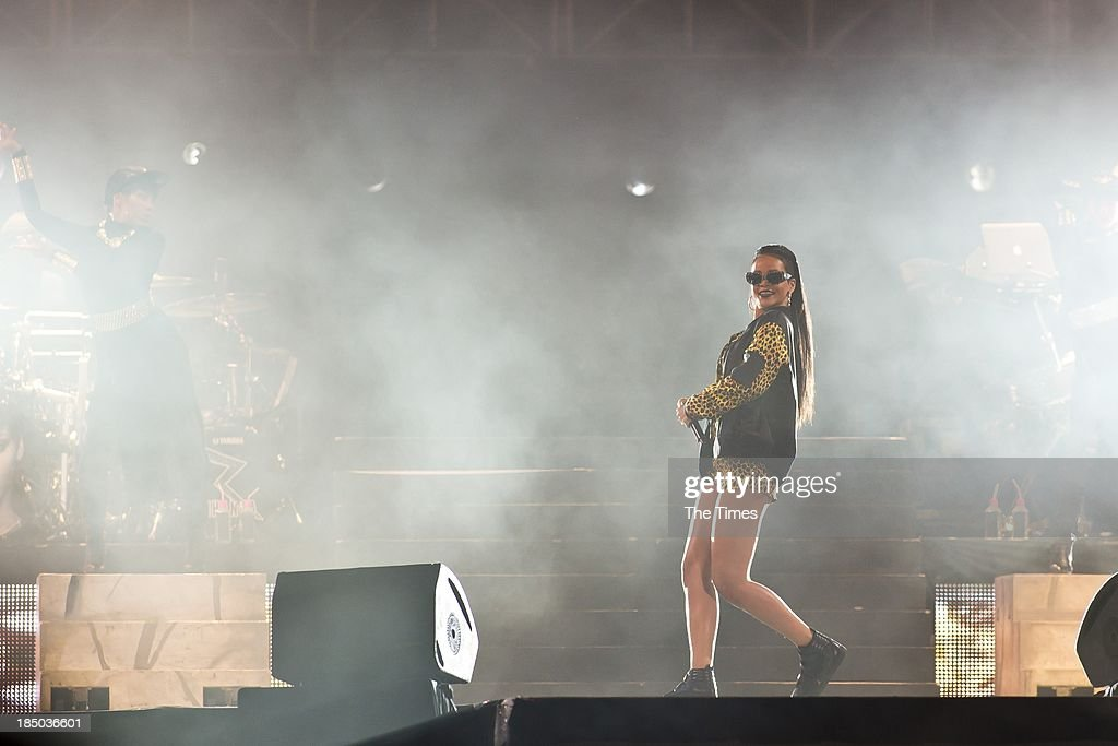 American pop singer Rihanna performs at the Cape Town Stadium on October 17, 2013, in Cape Town, South Africa. Rihanna is currently on her Diamonds World Tour.
