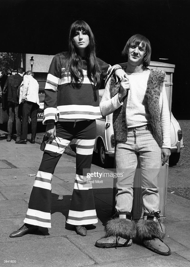American pop singing duo, Sonny (Salvatore Bono, 1935 - 1998) and Cher (Cherilyn Sarkasian La Pier) in Northumberland Avenue, London, after making a recording for the BBC at the Playhouse Theatre. They were turned away from the Hilton Hotel by the management because of their appearance.