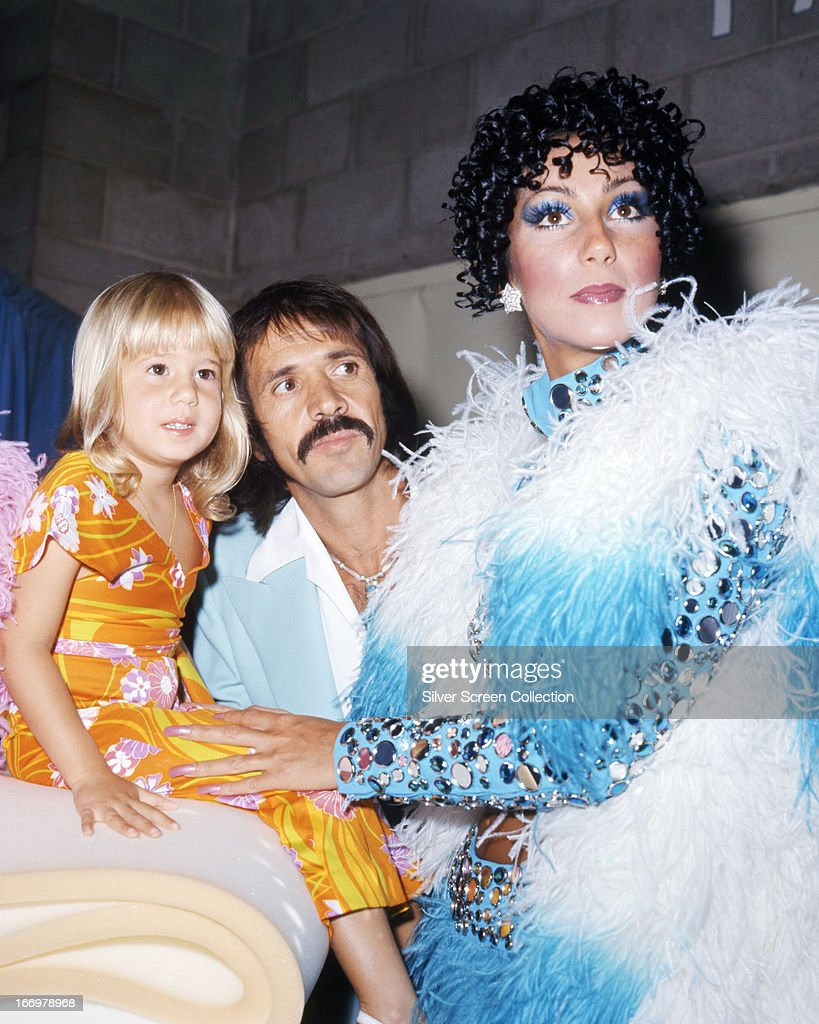 American pop singing duo Sonny & Cher with their daughter Chastity (later Chaz), circa 1973. Left to right: Chastity Bono, <a gi-track='captionPersonalityLinkClicked' href=/galleries/search?phrase=Sonny+Bono&family=editorial&specificpeople=208307 ng-click='$event.stopPropagation()'>Sonny Bono</a> (1935 - 1998) and Cher.