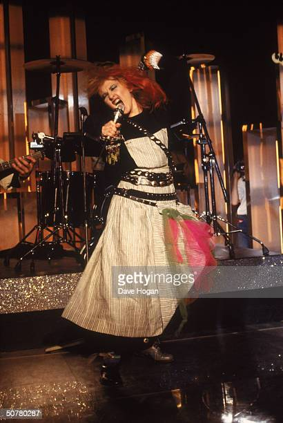 American pop star Cyndi Lauper in concert circa 1985