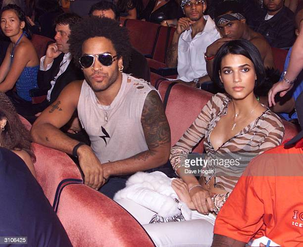 American pop star Lenny Kravitz and guest attend the MTV Music Video Awards held at Radio City Music Hall on September 7 2000 in New York