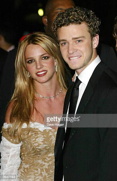 American pop stars Britney Spears and Justin Timberlake attend the Clive Davis pre Grammy party at the Beverly Hilton on February 26 2002 in Los...