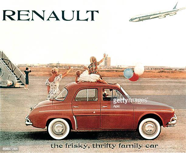 american poster publicity launch for the Renault Dauphine car in USA in 1958
